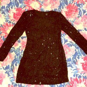 Sequined black minidress